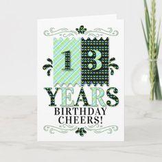 13th Birthday for Boys or Girls in Green Blue Card