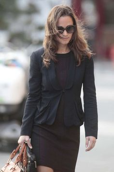 Pippa Middleton in a brown and black Zara dress and black blazer. Pippa Middleton Photos, Kate Middleton, Zara Dresses, Cute Outfits, Skinny Jeans, Plaid, Blazer, Walks, Royals