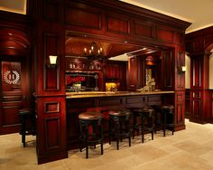 Marvellous Irish Pub Decorating Ideas With Vintage And Classic Touch: Traditional Media Room With Century Irish Pub Bar And Theater Classic Bar Stools ~ buymyshitpile.com Basement Designs Inspiration