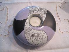 Lin Van Porcelaines Peinture sur porcelaine Bougeoirs en porcelaine, motifs fleurs, papillons,