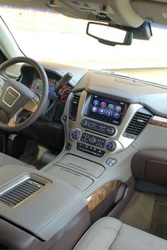 The luxurious interior of our October 2015 Car of the Month, the 2016 GMC Yukon Denali. Click pin for review, photos, specs and price! #gayot #carofthemonth