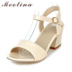 Meotina Women Sandals 2017 Summer Shoes Sandals Size 9 10 Open Toe Ladies Chunky High Heels Sandals White Pink Green Shoes 34-43