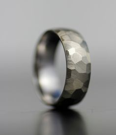 men's wedding band white gold or platinum hand faceted by lolide, $725.00