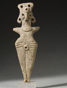 Idole féminine, terre cuite, 2e/3e millénaire av JC, Syrie, musée du Louvre