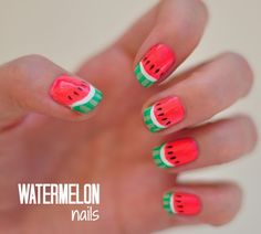 Watermelon Nail Designs Pictures 37 nail designs for a colorful magical summer watermelon Watermelon Nail Designs. Here is Watermelon Nail Designs Pictures for you. Watermelon Nail Designs, Watermelon Nail Art, Fruit Nail Designs, Fruit Nail Art, Nail Art Designs, Watermelon Fruit, Cute Nail Art, Cute Nails, Pretty Nails