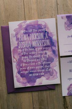 ELENA Suite Basic Package, purple watercolor wedding invitations