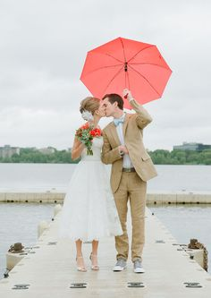 Coral Umbrella Kiss