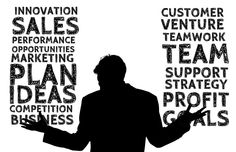 An image of a businessperson silouette with business buzzwords