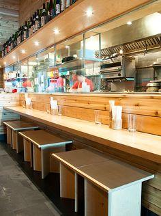 Counter seating at Ganso ramen-ya, run by owner Harris Salat and chef Ryuji Irie -- 25 Bond Street, #Brooklyn gansonyc.com