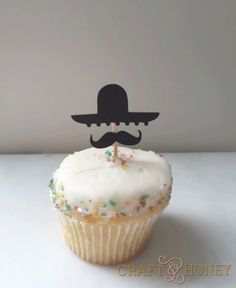 Sombrero and Mustache // Fiesta // Cinco de Mayo Cupcake Topper // Party Pick (Set of 12)