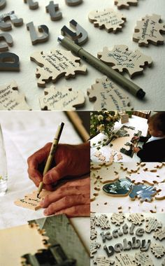 puzzle as guest book!! from alexan events' blog, they found it here: http://weddingnouveau.com/2010/08/decor-ideas-vintage-photo-puzzle-guest-books/
