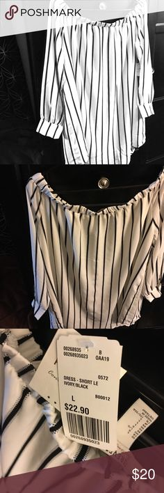 Brand new Forever 21 off the Shoulder Blouse ivory and black pin stripe dress chiffon blouse Forever 21 Tops Blouses