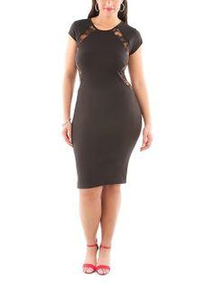 dots: Plus Lace Inset Midi Dress