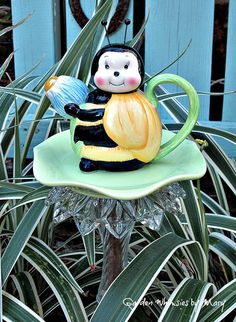 Bee Teapot Garden Totem Stake As Featured by GardenWhimsiesByMary