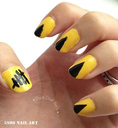 Yellow 5 Seconds of Summer Nail Art / Day Yellow Nails- Doctor Who Nails, Beauty Nails, Beauty Makeup, 5sos Nails, Black Nail Art, Disney Nails, Yellow Nails, Second Of Summer, 5 Seconds