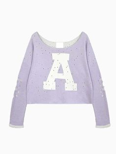 Purple Oversize Crop Top With Holes