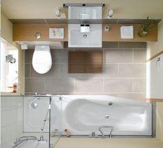 Kleine badkamer met alles erop en eraan. Dat wil ik ook.