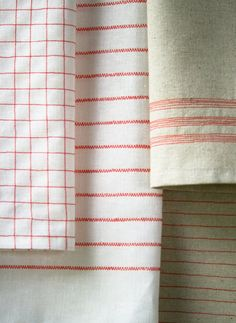 Sewing Project: Vintage Tea Towels: sturdy linen/cotton blend fabric & bright tomato red thread
