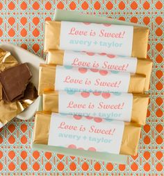 A simple DIY wedding favor or a great addition to an out-of-town-guest gift basket.  These were made using Avery Shipping Labels and free printable templates and designs. So many templates to choose from.