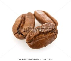 three seed off coffee (macro) isolated on white background