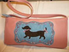 Dachshund pink purse handbag by theshabbyKat on Etsy, $10.99