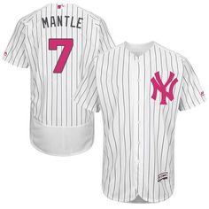 Yankees #7 Mickey Mantle White Strip Flexbase Authentic Collection Mother's Day Stitched MLB Jersey