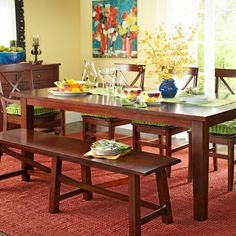 Torrance Mahogany Brown Turned Leg Dining Table Kitchen - Torrance dining table
