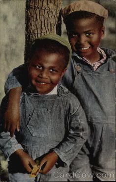 Two Sunny Smiles - Black Children in Coveralls Black Americana