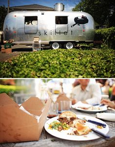 Vintage Trailers Restaurant on Wheels! OH Jennifer & Todd,,how cool would this little trailer be : ) Food Truck Wedding, Wedding Catering, Wedding Receptions, Vintage Airstream, Vintage Trailers, Vintage Campers, Semi Truck Cakes, Little Trailer, Truck Bed Date