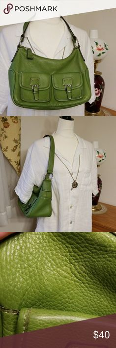 Small Fossil handbag purse EUC Such soft leather! Beautiful spring green, with silver hardware. 2 front pockets with magnet closures, top zips, interior has a zipper and 2 pockets. Clean interior, very little sign of wear. The front has a very light blemish, hardly noticeable. The back has a little wear top left where handle meets bag, and there are a few pen marks here too. Again, hardly noticeable. See pics for measurements and measurements are approximate. Gorgeous Fossil quality! Fossil…