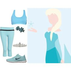 Elsa  - Disney Bounding - Workout outfit would wear shirt over it