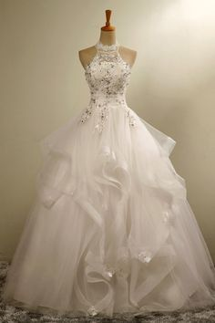 0c1fa1b6f6d Stylish Halter Floor-Length Organza Wedding Dress with Appliques Beading