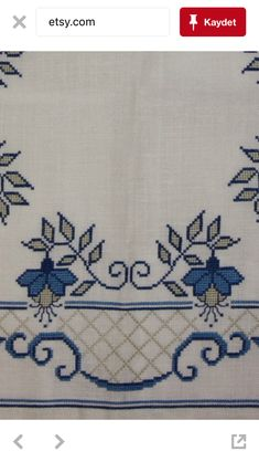 Beautiful blue cross stitch embroidered tablecloth by Ingsvintage Cross Stitch Borders, Cross Stitch Designs, Embroidery Stitches, Hand Embroidery, Teapot Cover, Cross Stitch Cushion, Blue Cross, Yarn Shop, Easy Crochet Patterns