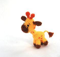 Cute and Tiny! - amigurumi giraffe, crochet giraffe, miniature giraffe toy, tiny giraffe doll, stuffed giraffe, stuffed animal, collectible animal doll, https://www.facebook.com/nancy.l.addante