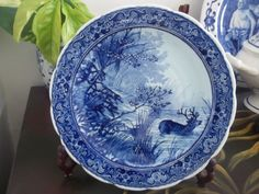 DELFTS BLAUW CHARGER Delft Deer Hunt 12'' by by GuamAntiquesNstuff