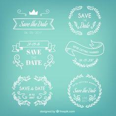 Emblemas conjunto de casamento desenhado à mão