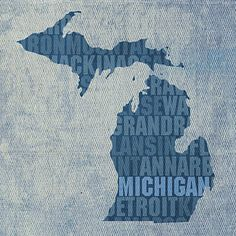 Mixed Media - Michigan Great Lake State Word Art On Canvas by Design Turnpike
