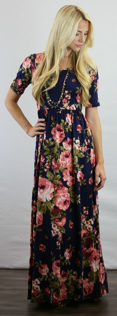 Navy is good but Navy and Coral is amazing!  Loving this colorful Floral Maxi Dress from Mikarose.  Only $64.99