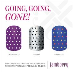 Jamberry is clearing out inventory to make room for the awesome new wraps coming out for the New Spring Catalog!! Check out some of these Going , Going, Gone Wraps....if you would like to shop directly from this page click  on the link below and be taken directly to my website!:) There are so many to choose from...I would love to post more, but it would take all day! LOL http://www.applejacksjams.jamberrynails.net/category/going-going-gone