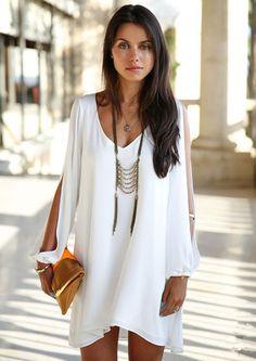 V Neck Split Sleeve Chiffon White Dress