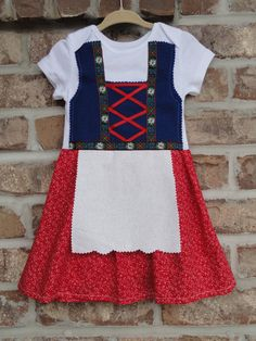 This sweet little dirndl is now available for toddler sized girls and big girls 3T through size 7/8.