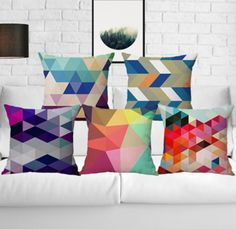 Colorful Geometric Design Cotton With Linen Office Backrest Cushion Pillow