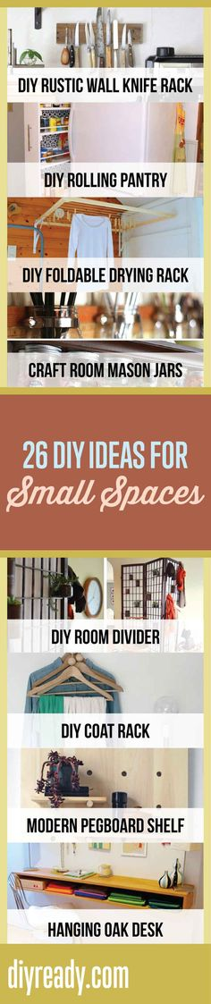 DIY Ideas for Small Spaces Living | Organization and Storage Hacks for Small Spaces by DIY Ready at http://diyready.com/26-ingenius-diy-ideas-for-small-spaces/