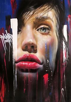 """No Surprises"" - Adnate, graffiti artist {beautiful female head face portrait painting} <3 Mesmerizing !!"