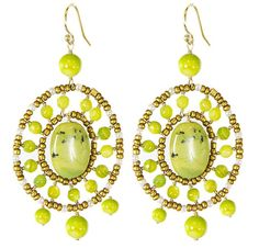 Adee Waiss 18k Gold Overlay Avacado Jasper Seed Bead Earrings
