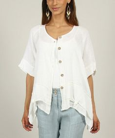Love this White Christina Linen Jacket by Un Coeur en Ete on #zulily! #zulilyfinds