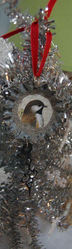 Pretty Bird Ornament Vintage Christmas Woodland by KellyDeal, $7.00