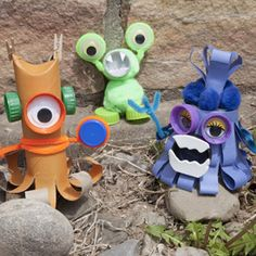 Create cute little monsters using recycled materials found around the home, such as cardboard tubes, cups and bottle caps!