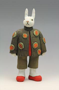ceramic figure bunny rabbit by Sara Swink fruit mango - Sara Swink, artist Pottery Sculpture, Sculpture Art, Sashiko Embroidery, Guys And Dolls, Clay Figurine, Ceramic Figures, Ceramic Animals, Assemblage Art, Animal Decor