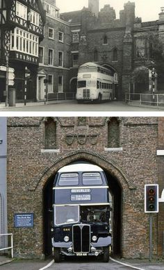 Vintage Trucks Bus specially designed to fit through the North Bar Gate of Beverley, East Yorkshire, UK. - More memes, funny videos and pics on East Yorkshire, Yorkshire England, England And Scotland, England Uk, Hull England, Northern England, Kingston Upon Hull, Bugatti, Double Decker Bus
